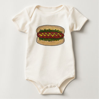 Hot Dog Hotdog w/ Mustard and Relish Food Foodie Baby Bodysuit