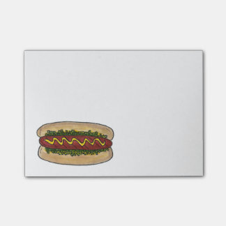 Hot Dog Hotdog w/ Mustard Relish Foodie Post Its Post-it® Notes