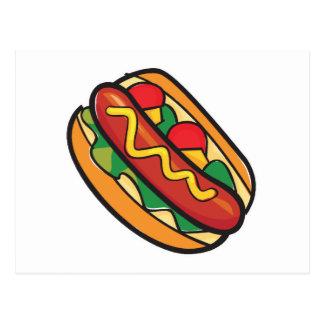 hot dog in bun post card