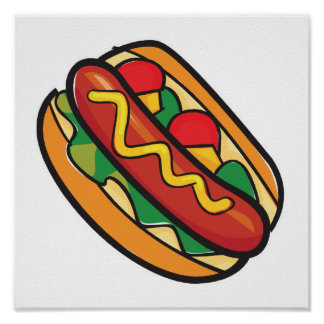 hot dog in bun poster