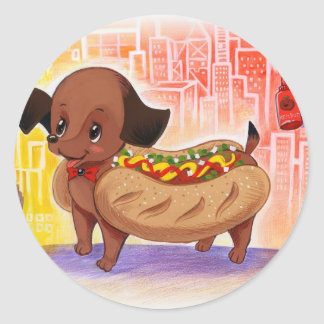 Hot Dog In The City Kitschy Cute Round Sticker
