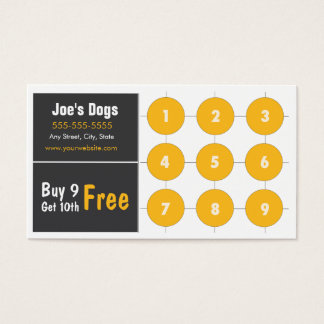 Hot Dog Loyalty Business Card Punch Card