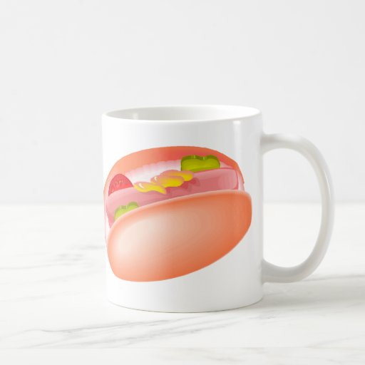 Hot dog on a bun with all the fixin's coffee mugs