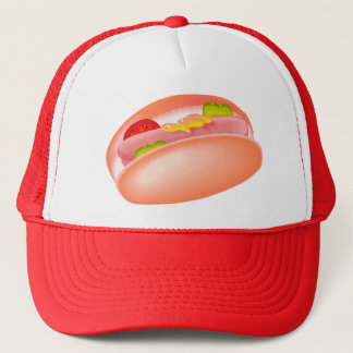 Hot dog on a bun with all the fixin's trucker hat