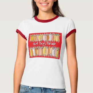 Hot Dog Parade with red background T-Shirt