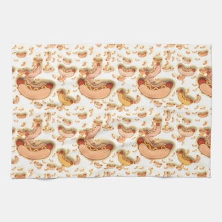 Hot Dog Pattern - floating hot dogs Towels