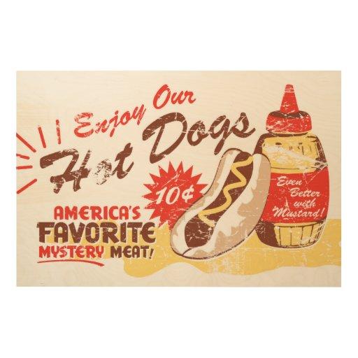Hot Dog Retro Wood Sign Wood Prints