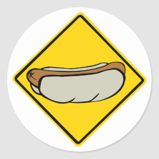 HOT DOG ROAD SIGN 1 CLASSIC ROUND STICKER