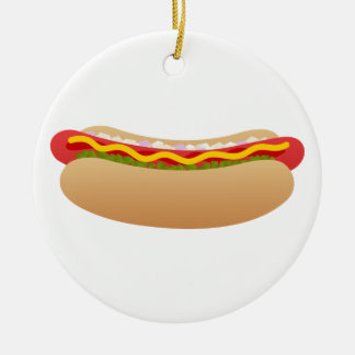 Hot Dog Round Ceramic Ornament