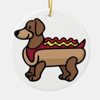 Hot Dog Round Ceramic Ornament