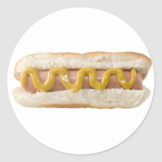 hot dog round sticker