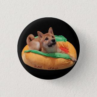 Hot Dog Shiba Badge Black 1 Inch Round Button
