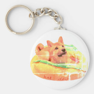 Hot Dog Shiba key ring
