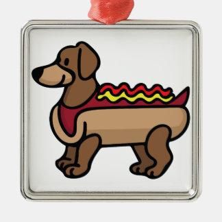 Hot Dog Silver-Colored Square Ornament