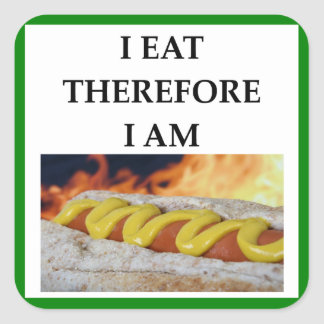 HOT DOG SQUARE STICKER