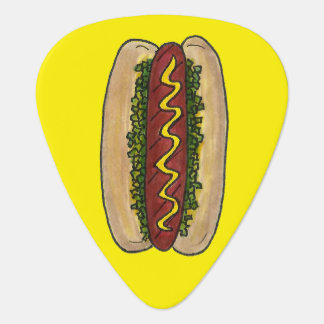 Hot Dog w/ Mustard and Relish Foodie Hotdog Bun Guitar Pick