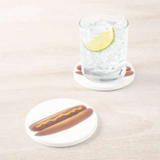Hot Dog with Mustard Drink Coaster