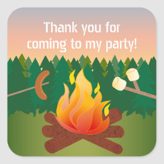 Hot Dogs and Marshmallows Campfire Thank You Favor Square Sticker