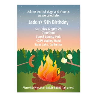 Hot Dogs and Smores Campfire Birthday Party Card