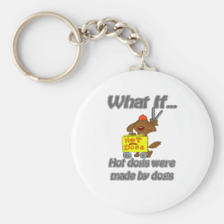 hot dogs by dogs basic round button keychain