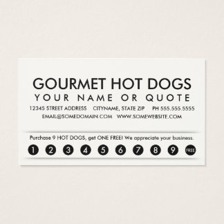 hot dogs. loyalty punch card