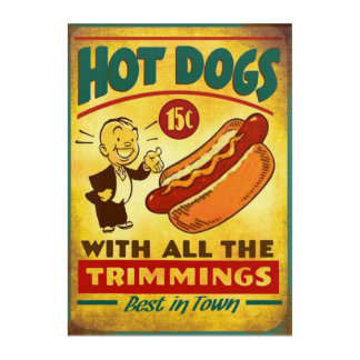 Hot Dogs Vintage Poster Acrylic Wall Art