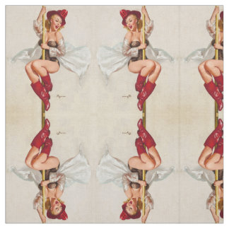 Hot Firefighter Pinup Girl Fabric