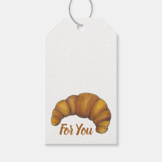 Hot Flaky Buttered Croissants French Pastry Bakery Gift Tags