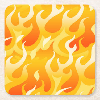 Hot flames square paper coaster