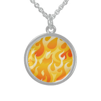 Hot flames sterling silver necklace