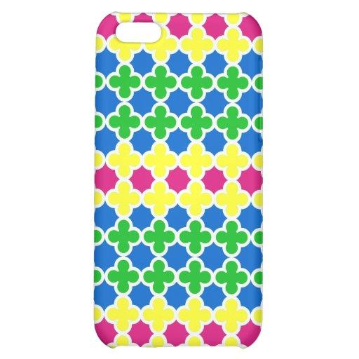 Hot Fluorescent Colors Quatrefoil Pattern Case For iPhone 5C