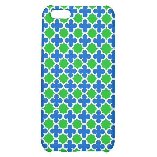 Hot Fluorescent Green and Blue Quatrefoil Pattern iPhone 5C Case