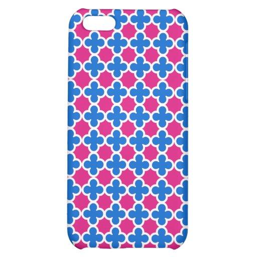 Hot Fluorescent Pink and Blue Quatrefoil Pattern iPhone 5C Case