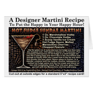 Hot Fudge Sundae Martini Recipe Greeting NoteCard