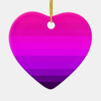 Hot Fuschia Pink Striped Ceramic Heart Ornament