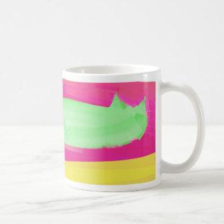 hot green abstract cat basic white mug