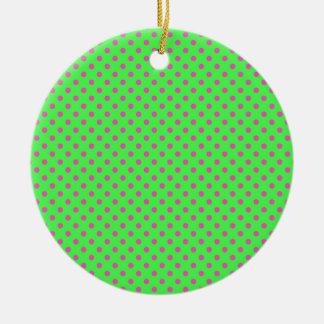 hot green and pink polka dots round ceramic ornament