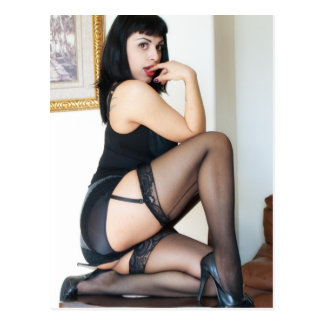 Hot Lady in Black Pinup Postcard