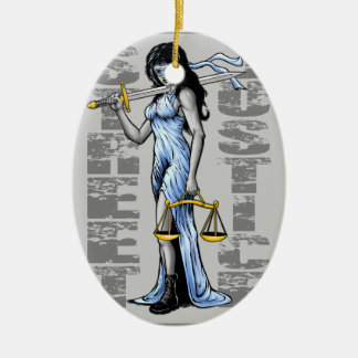 Hot Lady Justice by Street Justice Ceramic Ornament