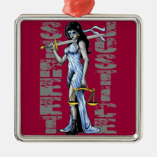 Hot Lady Justice by Street Justice Silver-Colored Square Ornament