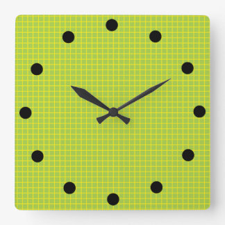 Hot Lime Tiles Square Wall Clock