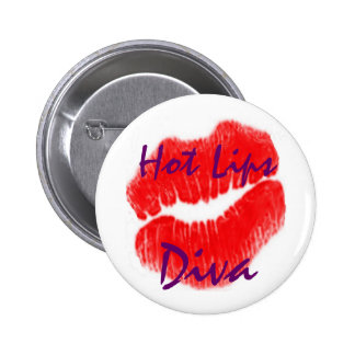 Hot Lips Diva In White Button Pin