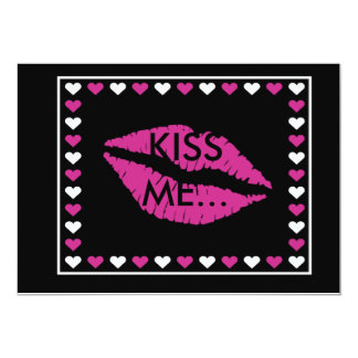 Hot Lips & Hearts Set 5x7 Paper Invitation Card
