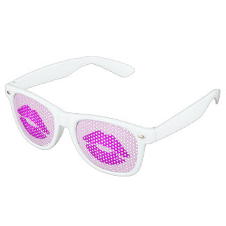 Hot Lips Pink Kiss Lipstick Print Retro Sunglasses