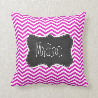 Hot Magenta Chevron Stripes; Retro Chalkboard look Throw Pillow