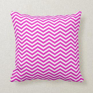 Hot Magenta Chevron Stripes Throw Pillow