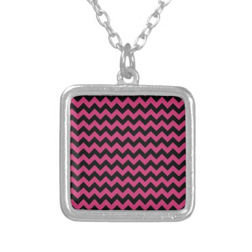 Hot Magenta Pink and Black Chevron Pattern Necklaces