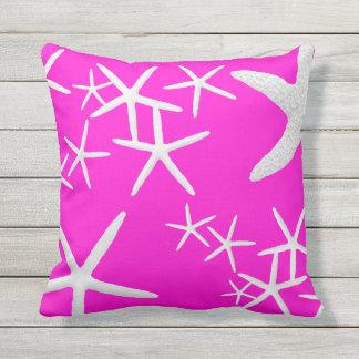 Hot Magenta Starfish Decorative Throw Pillow