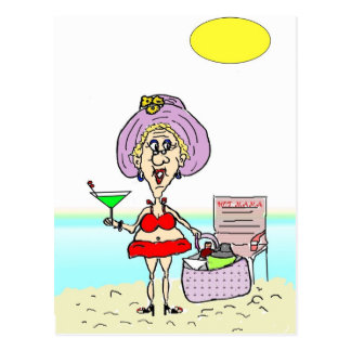 HOT MAMA MARTINI BEACH POSTCARD