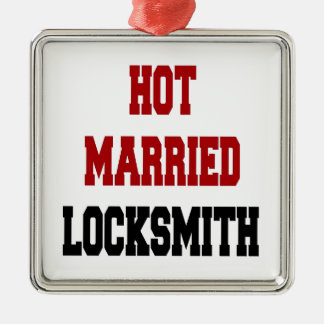 Hot Married Locksmith Silver-Colored Square Ornament